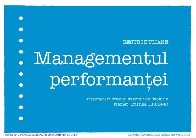 Managementul performantei - Evolutiv