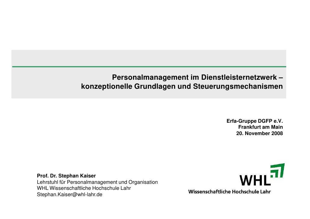 Personalmanagement im Dienstleisternetzwerk –                  konzeptionelle Grundlagen und Steuerungsmechanismen        ...