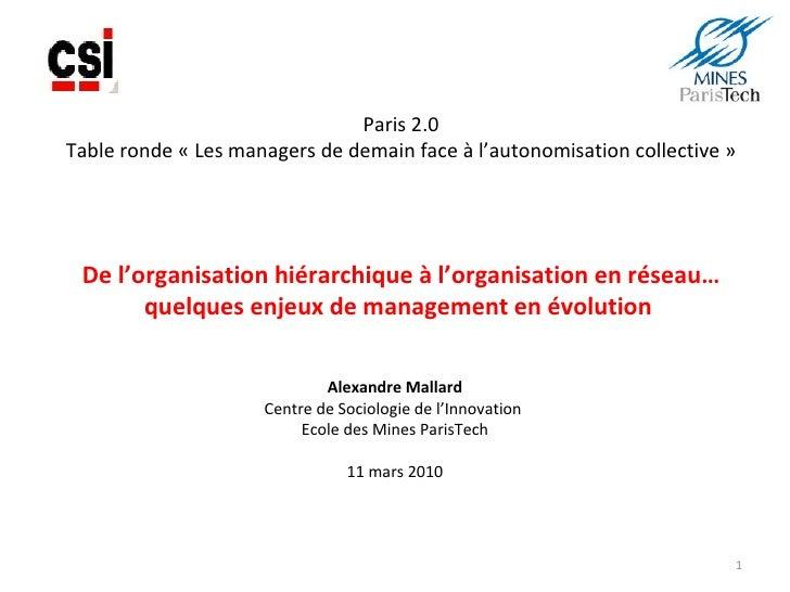 Paris 2.0 Table ronde «Les managers de demain face à l'autonomisation collective» De l'organisation hiérarchique à l'org...
