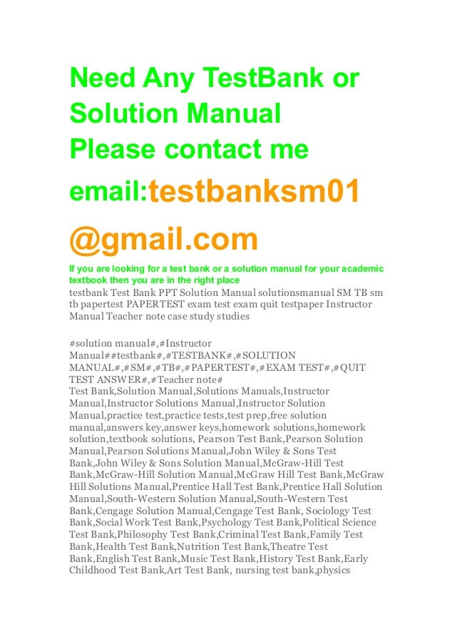 solution manual test bank and instructor Online document download solution manual instructor manual test bank collection solution manual instructor manual test bank collection - in this site is not the.