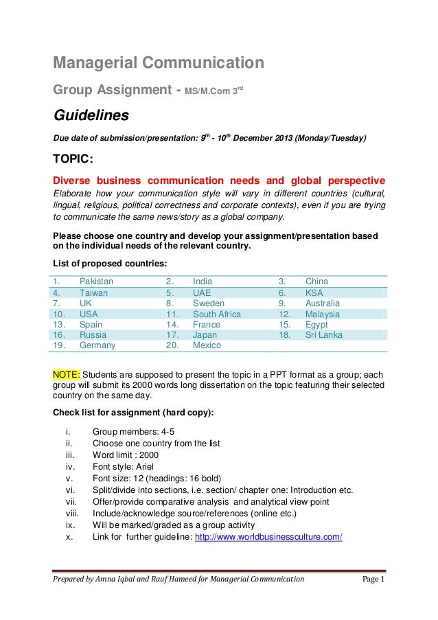 Managerial Communication Group Assignment - MS/M.Com 3rd  Guidelines Due date of submission/presentation: 9th - 10th Decem...