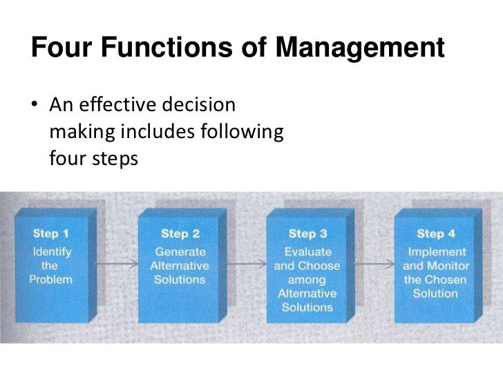 impacting the four functions of management essay Read this business essay and over 88,000 other research documents the four functions of management management is accomplished through four functions of management: planning, organizing, leading, and controlling.