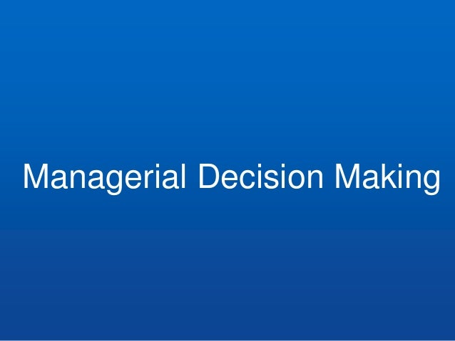 managerial decision making in the aerospace