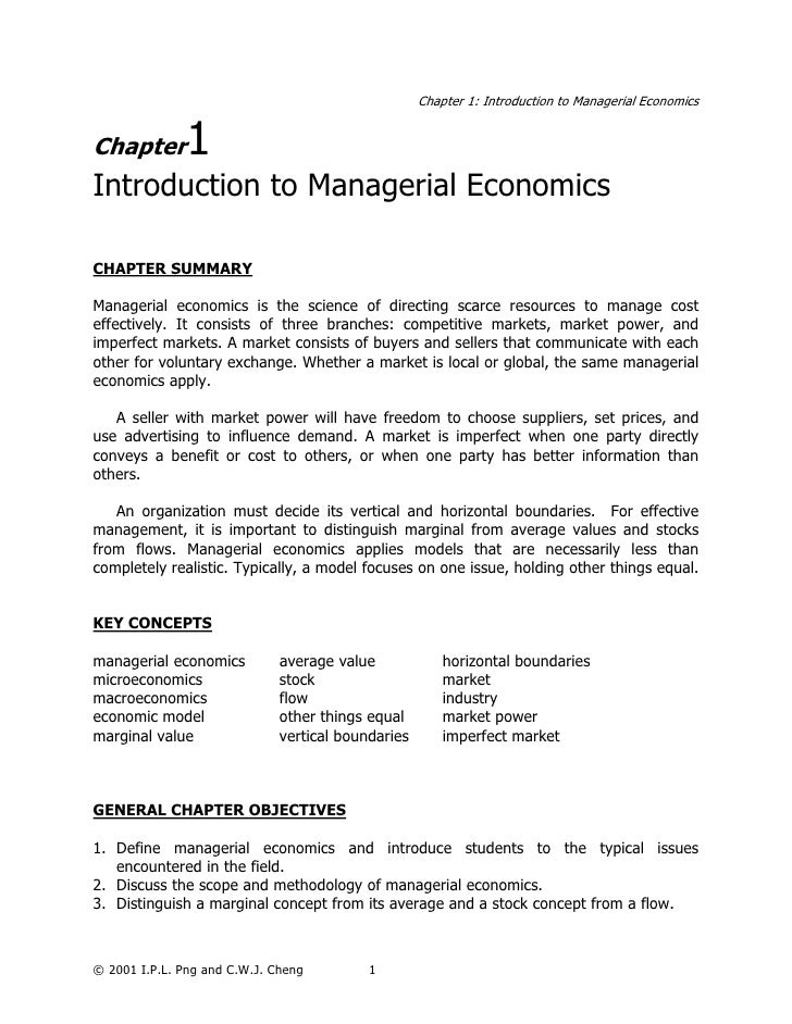 Chapter 1: Introduction to Managerial EconomicsChapter        1Introduction to Managerial EconomicsCHAPTER SUMMARYManageri...