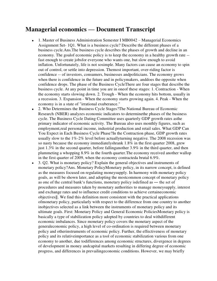 Managerial economics — Document Transcript    1. Master of Business Administration Semester I MB0042 – Managerial Economic...