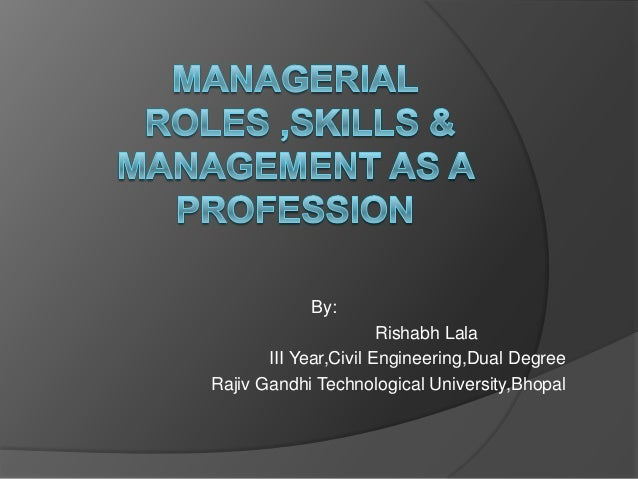 Ppt.on managerial skills and roles