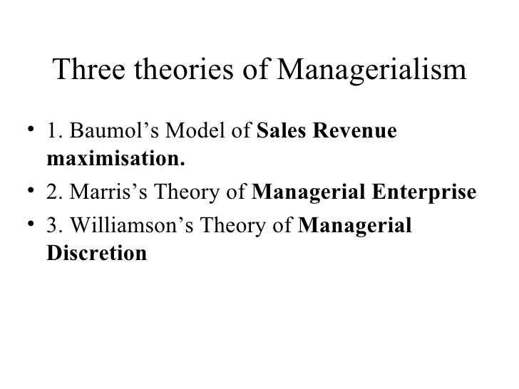 sales maximisation baumol 1959 Need essay sample on maximisation of profits this objective was initially developed by the work of baumol (1959) baumol's research focused on the behaviour.