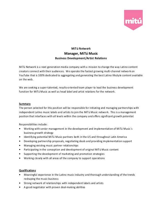 MiTú Network                                      Manager, MiTú Music                              Business Development/Ar...