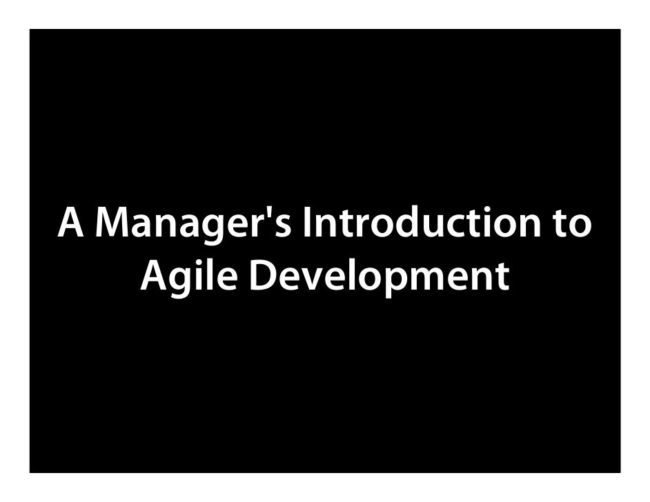 Managers Introduction to Agile