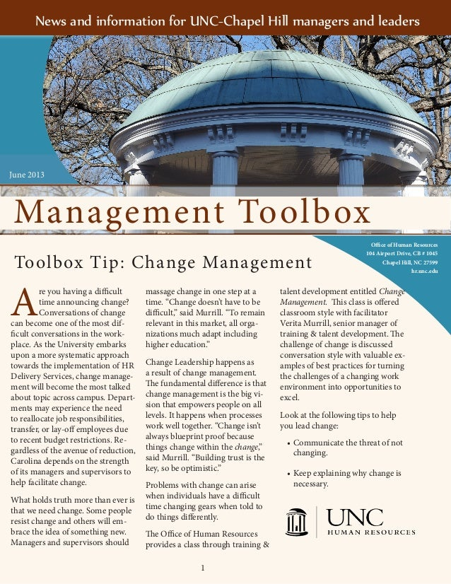 1Management ToolboxOffice of Human Resources104 Airport Drive, CB # 1045Chapel Hill, NC 27599hr.unc.eduAre you having a di...