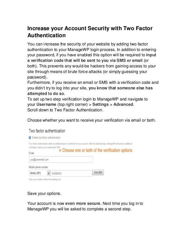 ManageWP User Guide: Increase your Account Security with Two Factor Authentication