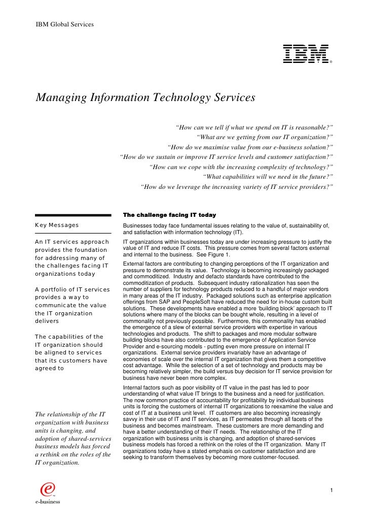 Managing Information Technology Services