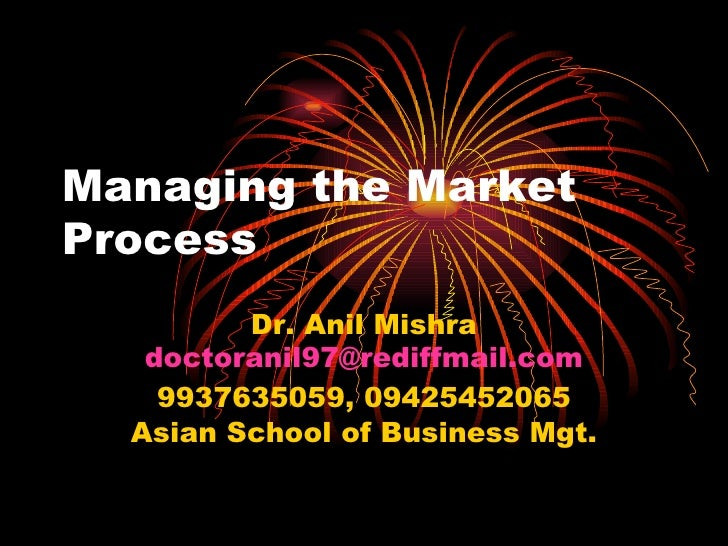 Managing the Market Process Dr. Anil Mishra [email_address] 9937635059, 09425452065 Asian School of Business Mgt.