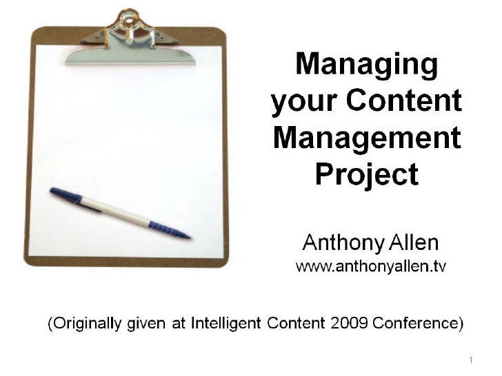 Managing Your Content Management Project
