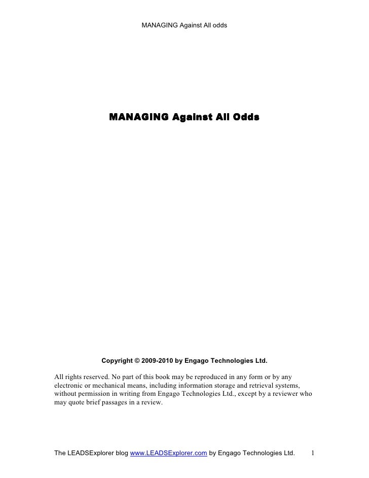 MANAGING Against All odds                       MANAGING                   MANAGING Against All Odds                    Co...