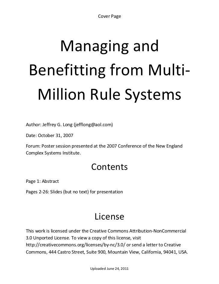 CoverPage        Managingand    BenefittingfromMulti‐     MillionRuleSystemsAuthor:JeffreyG.Long(jefflong@a...