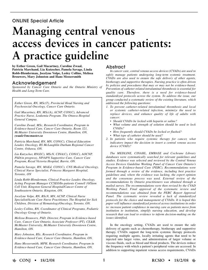 ONLINE Special Article  Managing central venous access devices in cancer patients: A practice guideline by Esther Green, G...