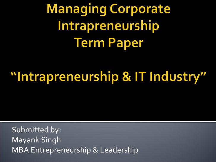 Intrapreneurship & IT Industry