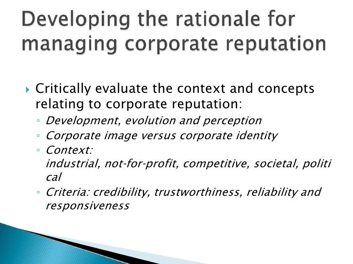 managing corporate reputation essay 301 managing corporate reputation, stakeholder relations, and corporate social responsibility mcwilliams and siegel (2001) emphasised that consumers consider socially.