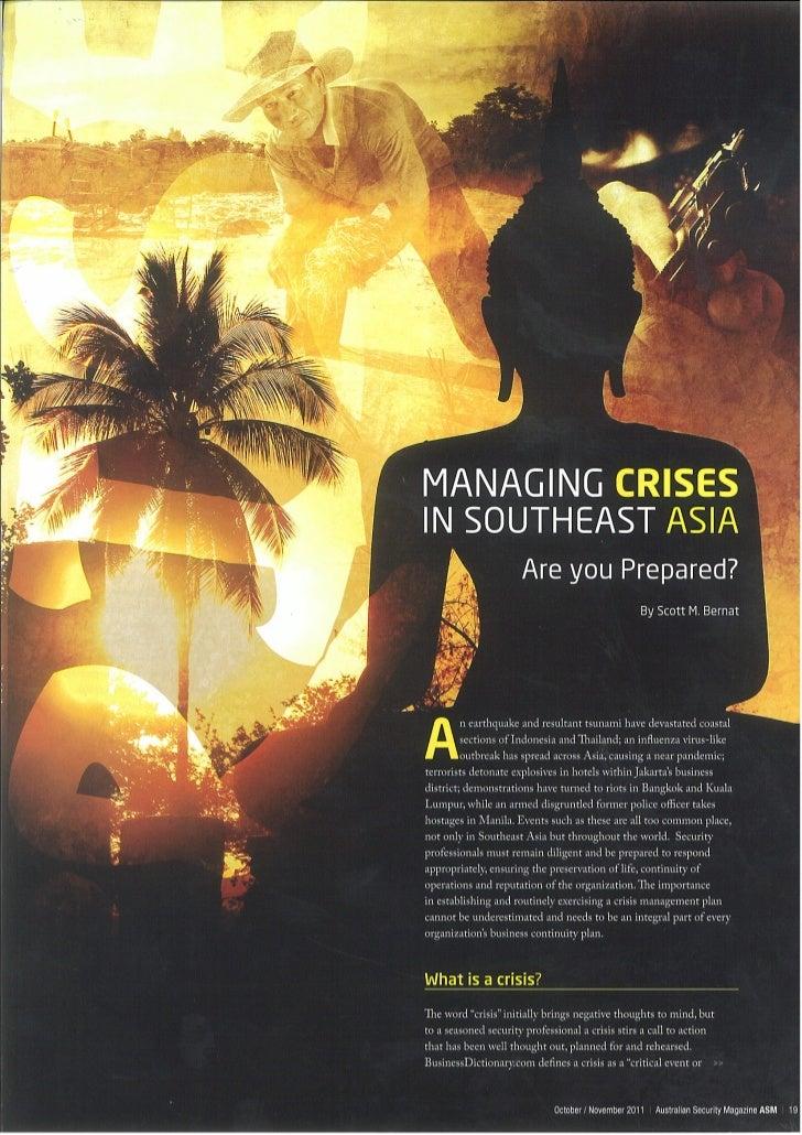 Managing Crises in Southeast Asia - Australian Security Magazine - 2011