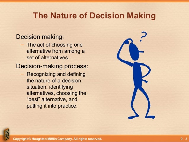 mananging decision making The 10 cardinal issues, which are covered in depth in my book decision management what resources will be invested in decision making.