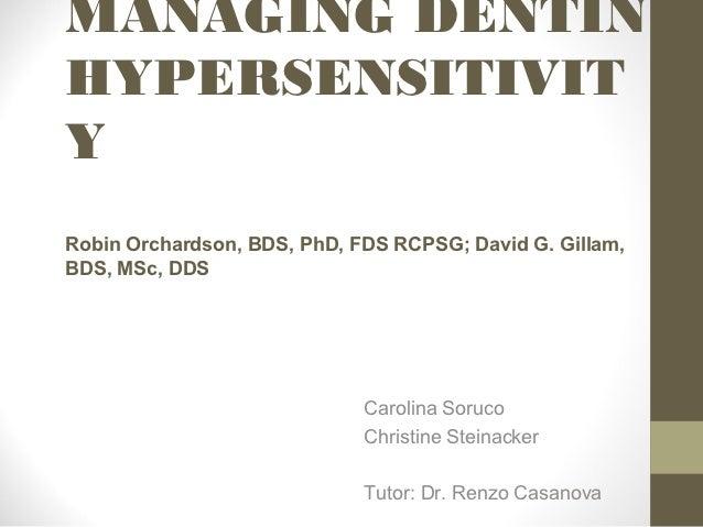 Managing dentin hypersensitivity