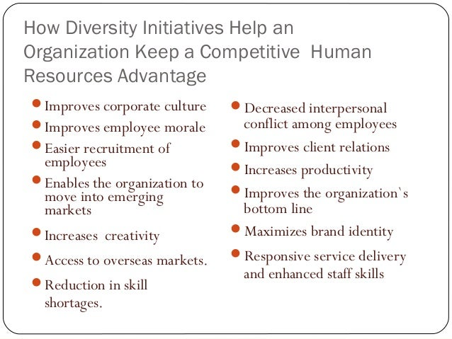 diversity in an organization essay In present day, human diversity becomes a more and more important part in human resource management organizations should pay more attention to the.
