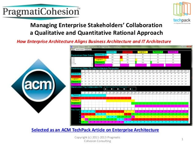 Managing enterprise stakeholders collaboration a qualitative and quantitative rational approach