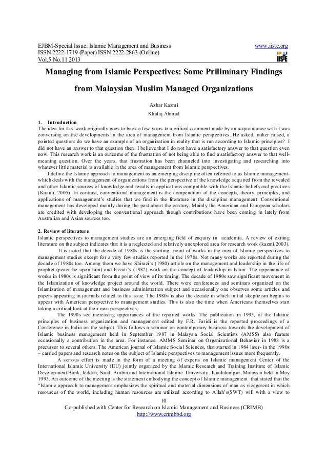 Managing from islamic perspectives some priliminary findings from malaysian muslim managed organizations