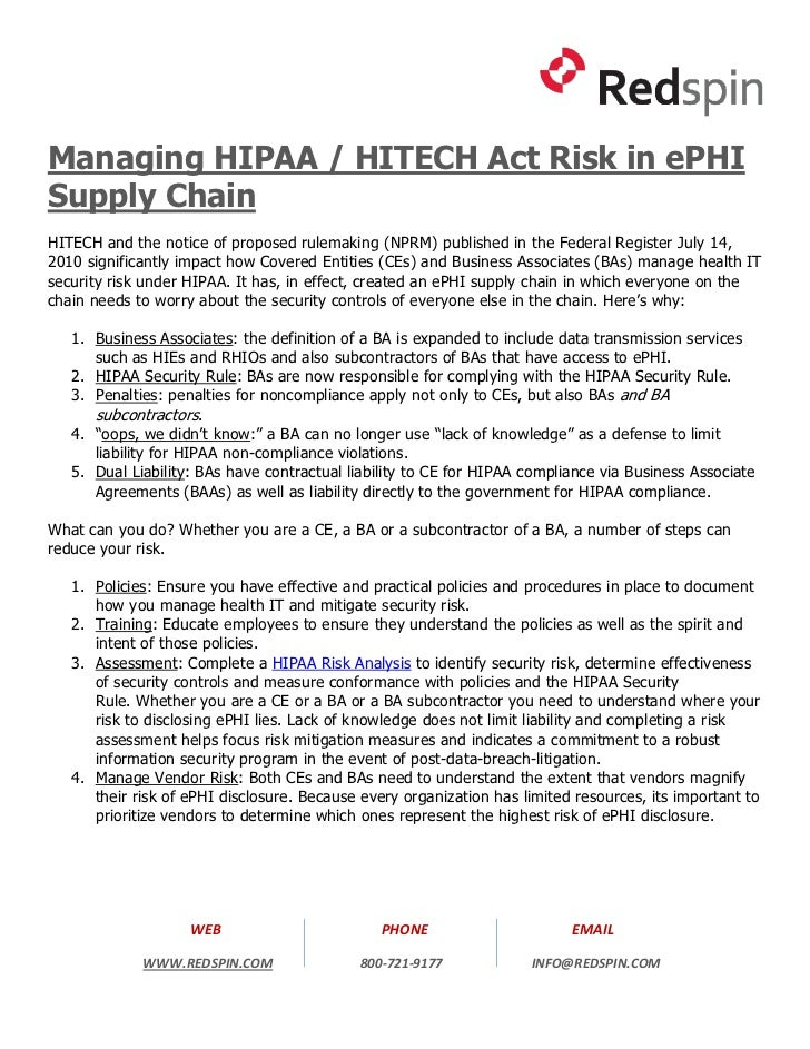 Managing HIPAA / HITECH Act Risk in ePHI Supply Chain