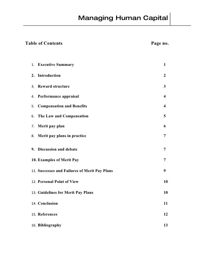 Managing Human Capital   Table of Contents                                 Page no.      1. Executive Summary             ...
