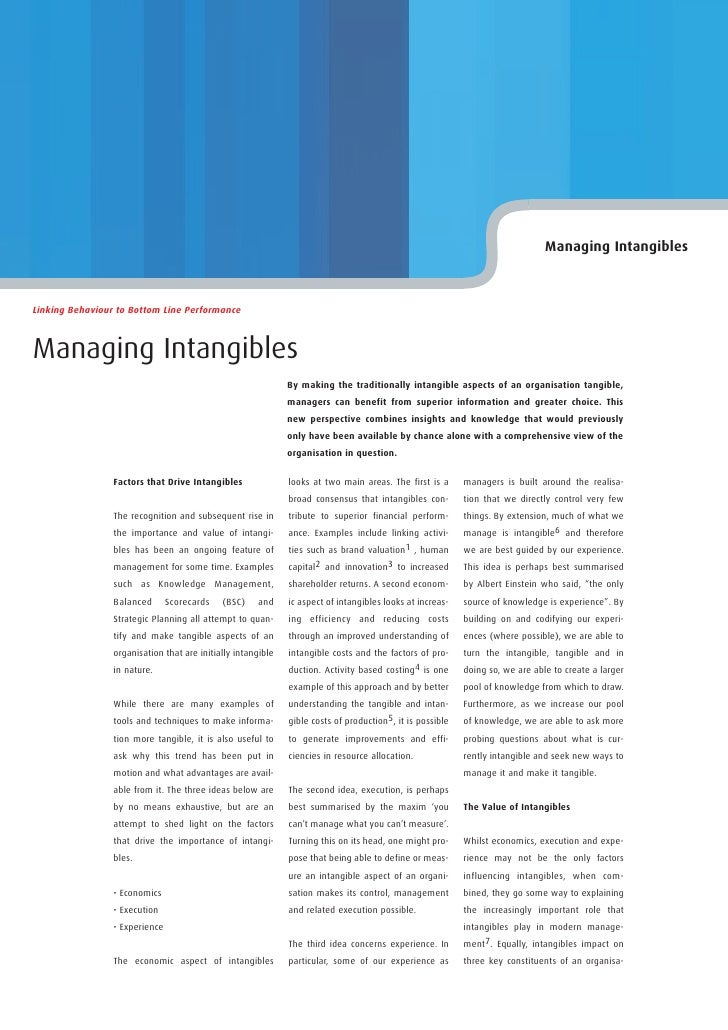 Managing Intangibles    Linking Behaviour to Bottom Line Performance    Managing Intangibles                              ...
