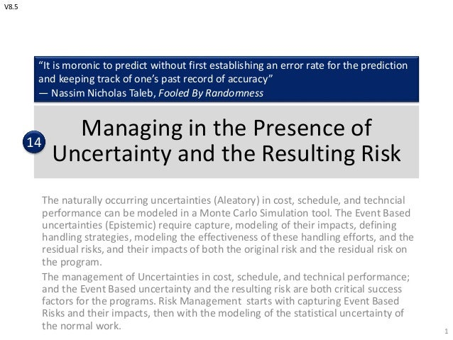 Managing in the Presence of Uncertainty and the Resulting Risk The naturally occurring uncertainties (Aleatory) in cost, s...