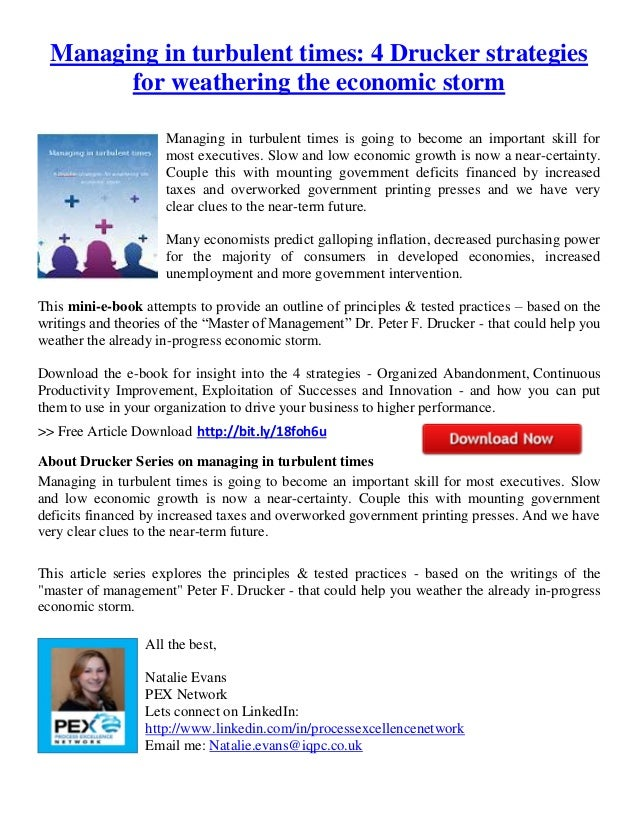 Managing in turbulent times   4 drucker strategies for weathering the economic storm 4-29-2013