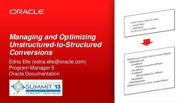 Managing and OptimizingUnstructured-to-StructuredConversionsEdna Elle (edna.elle@oracle.com)Program Manager 5Oracle Docume...