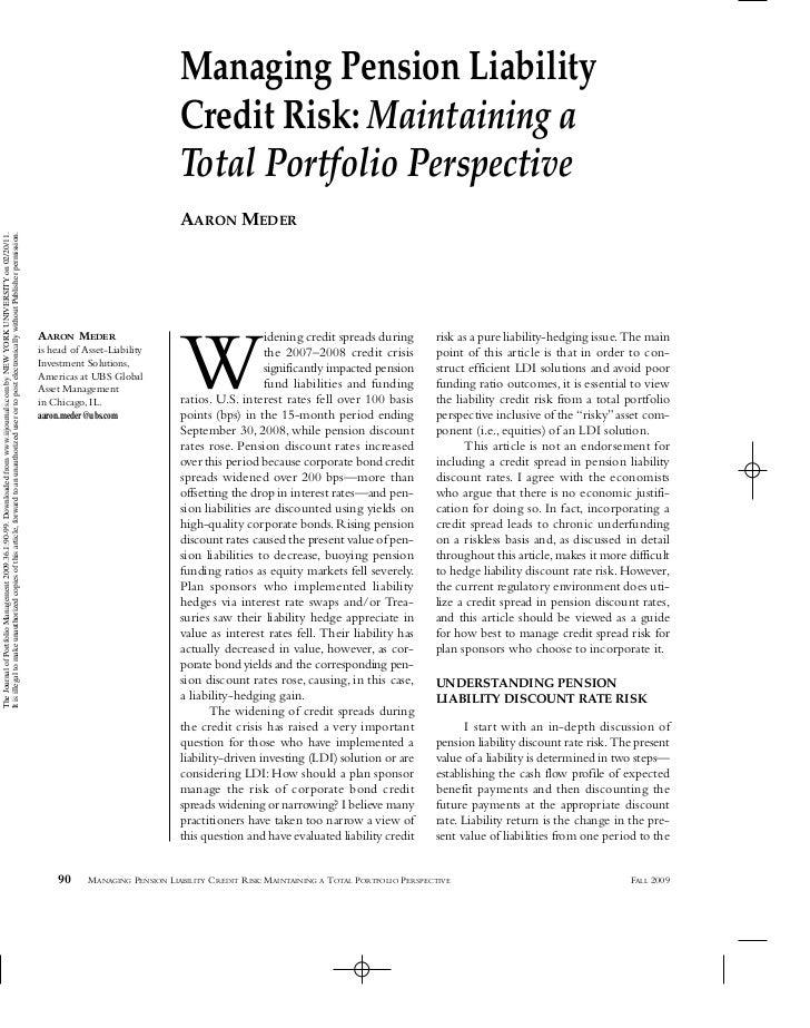 Managing Pension Liability Credit Risk