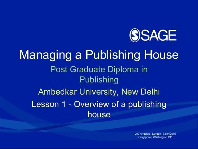 Managing a Publishing Enterprise Lesson 1 (Ambedkar University Delhi)