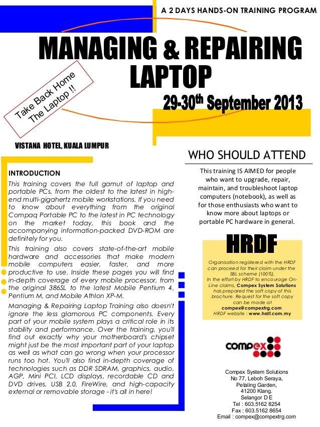 Managing  repairing laptop (jul oct 2013)