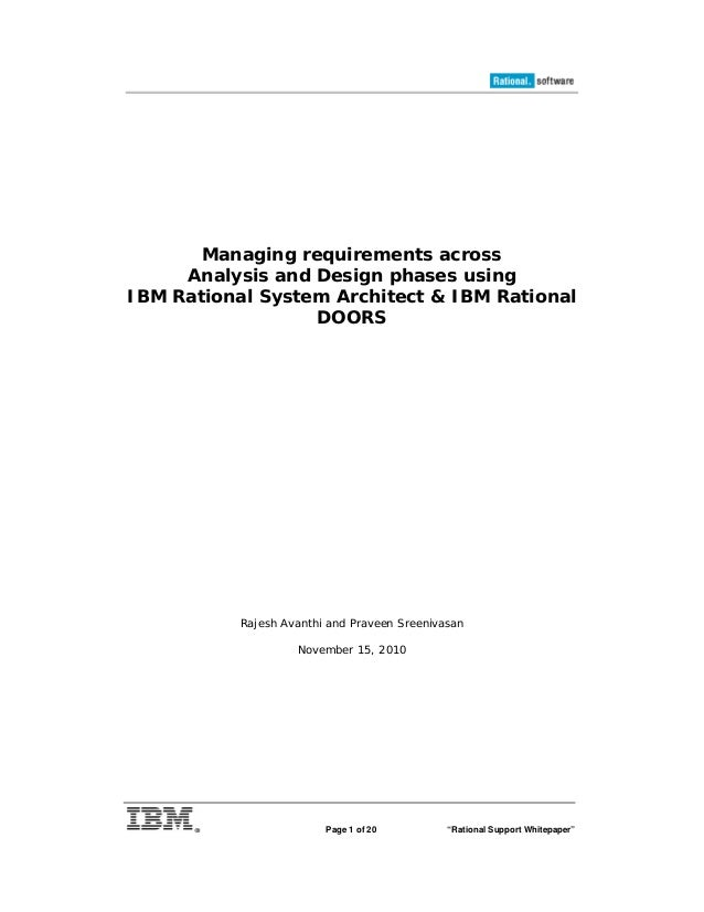 "Page 1 of 20 ""Rational Support Whitepaper"" Managing requirements across Analysis and Design phases using IBM Rational Syst..."
