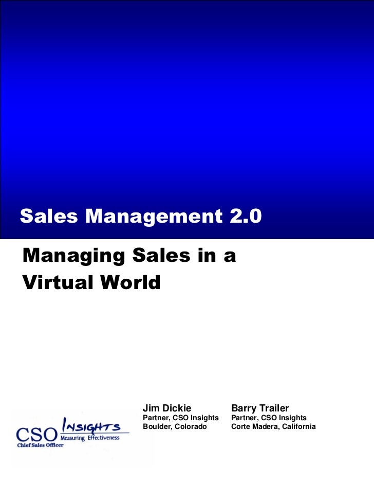 Managing Sales In A Virtual World