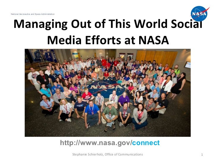 Managing Out of This World Social Media Efforts at NASA National Aeronautics and Space Administration Stephanie Schierholz...