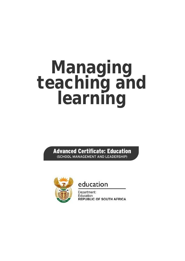 Managing teaching and learning: ACE School Management and Leadership (PDF)