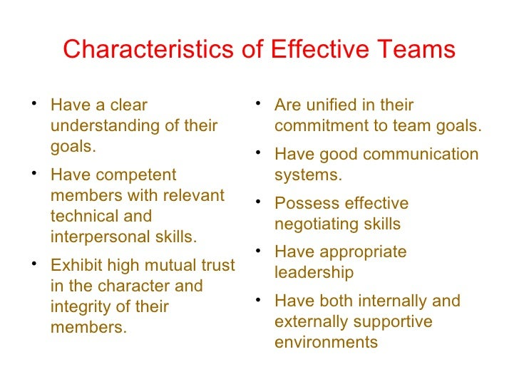 characteristics of a self managed work team The defining characteristics of a high-performing, value added, self-managed, work team are: unity: all the members of the group are expected to work in unity as a.