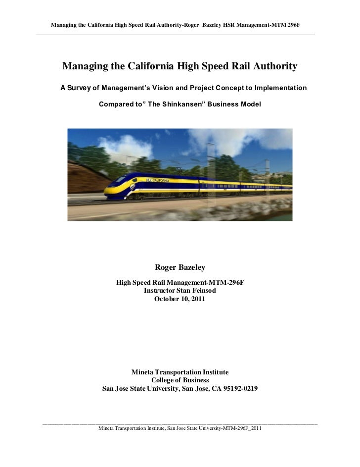 Managing the California High Speed Rail Authority-Roger Bazeley HSR Management-MTM 296F       Managing the California High...