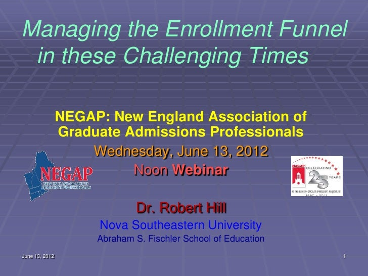 NEGAP Webinar 6/13/2012: Managing the Enrollment Funnel in these Challenging Times