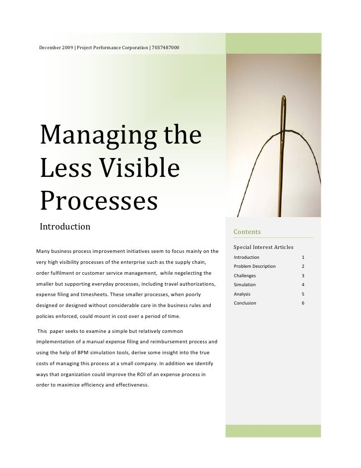 Managing The Less Visible Processes