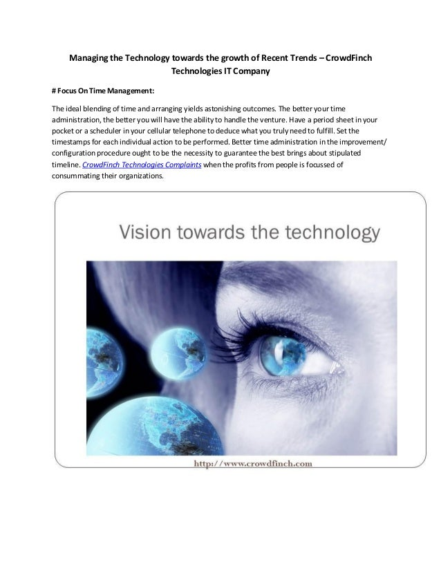 Managing the Technology towards the growth of Recent Trends – CrowdFinch Technologies IT Company # Focus On Time Managemen...