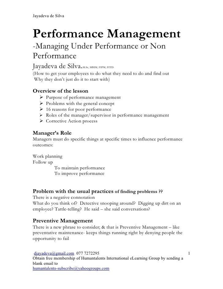Jayadeva de SilvaPerformance Management-Managing Under Performance or NonPerformanceJayadeva de Silva.        M.Sc, MBIM, ...