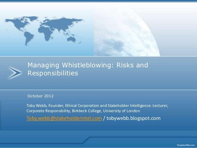 Managing Whistleblowing, risks and responsibilities