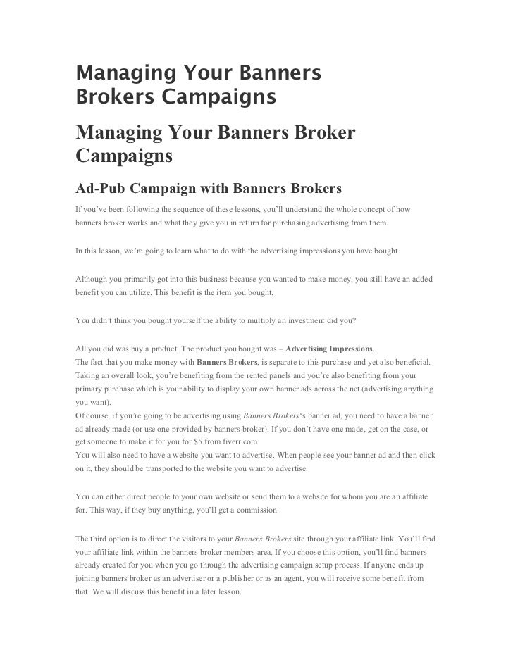 Managing Your BannersBrokers CampaignsManaging Your Banners BrokerCampaignsAd-Pub Campaign with Banners BrokersIf you've b...